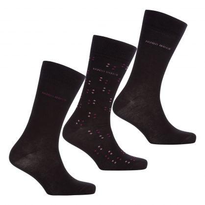 Black Regular-Length Gift Set Socks 3-Pack