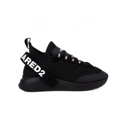 Black Mesh Logo Trainers