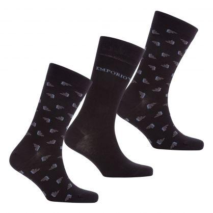 Black Stretch Cotton Patterned Short Socks 3-Pack