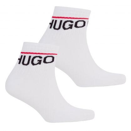White 2-Pack Rib Logo Ankle Socks