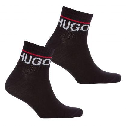 Black 2-Pack Rib Logo Ankle Socks