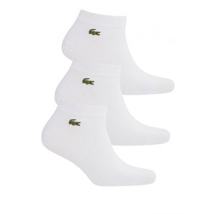 White Sport Low-Cut Cotton Socks 3-Pack