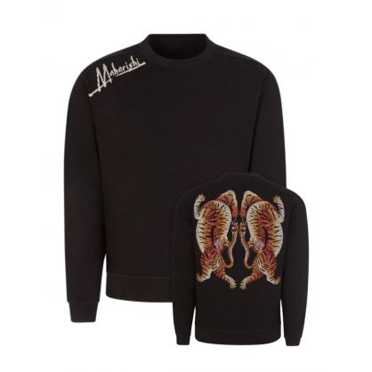 Black Heart of Tigers Embroidered Sweatshirt