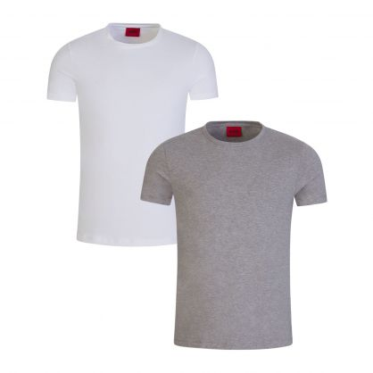 White/Grey Slim-Fit Stretch-Cotton T-Shirts 2-Pack