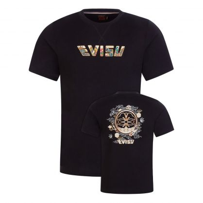 Black Kamon & Logo Foil-Print T-Shirt