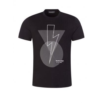 Black Bauhaus Bolt Geometric Logo T-Shirt