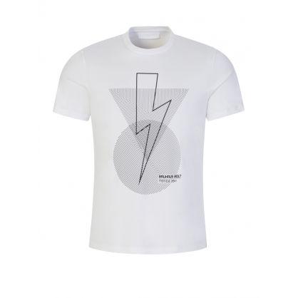 White Bauhaus Bolt Geometric Logo T-Shirt