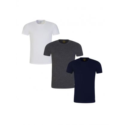 White/Grey/Navy 3PK Cotton T-Shirts