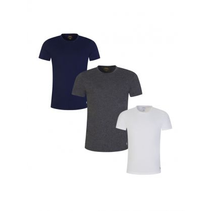 Navy/Grey/White Classic Cotton T-Shirt 3-Pack
