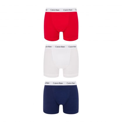 White/Navy/Red Classic-Fit Cotton Trunks 3-Pack