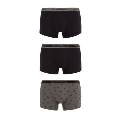 Grey/Black Eagle Print Stretch Cotton 3-Pack