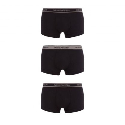 Pure Black Stretch-Cotton Trunks 3-Pack