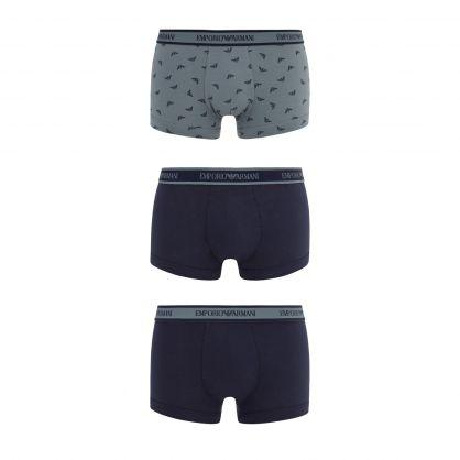 Grey/Navy Stretch Cotton Trunks 3-Pack
