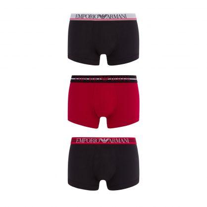 Black/Red/Black Stretch Cotton Trunks 3-Pack