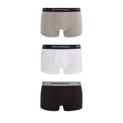White/Grey/Black Stretch Cotton Trunks 3-Pack