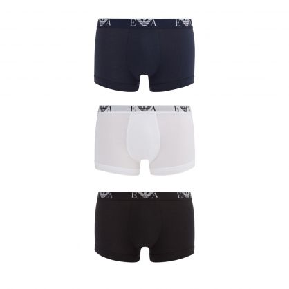 Black/White Stretch Cotton Trunks 3-Pack