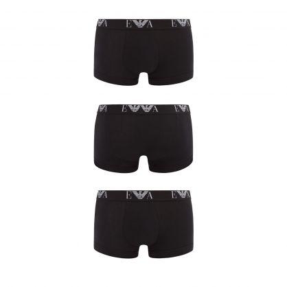 Black/Black/Black Stretch Cotton Trunks 3-Pack