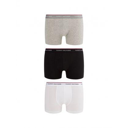Black/Grey/White 3-Pack Stretch Cotton Trunks