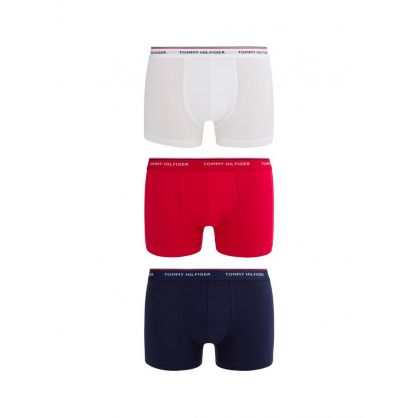 White/Red/Blue 3Pk Stretch Cotton Trunks
