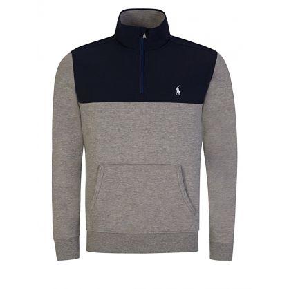 Light Grey 1/4-Length Zip Mix Sweatshirt