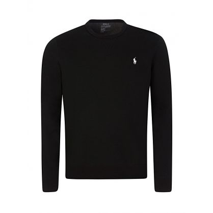 Black Double-Knit Crewneck Sweatshirt