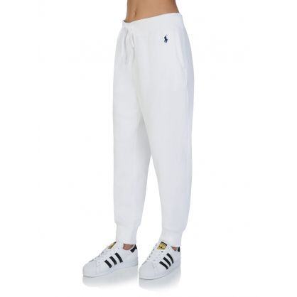 White Fleece Logo Sweatpants