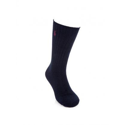 Navy Classic Cotton Crew Socks 3-Pack