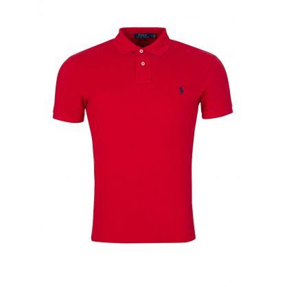 Red Slim  Mesh Polo Shirt
