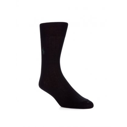 Black Egyptian Rib Cotton Socks