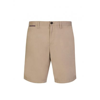 Beige Brooklyn Cotton Twill Shorts