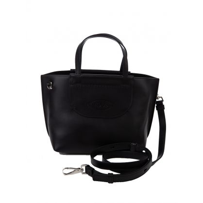 Black Leather Mini Shopping Bag
