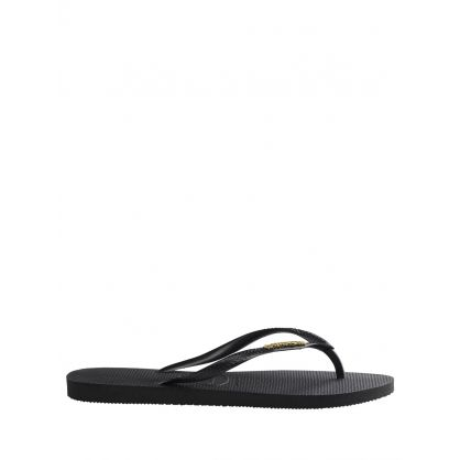 Black Slim Fit Gold Logo Flip Flops