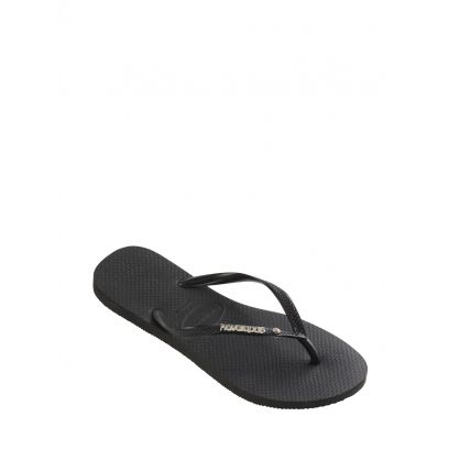 Black Slim Metal Crystal Logo Flip Flops