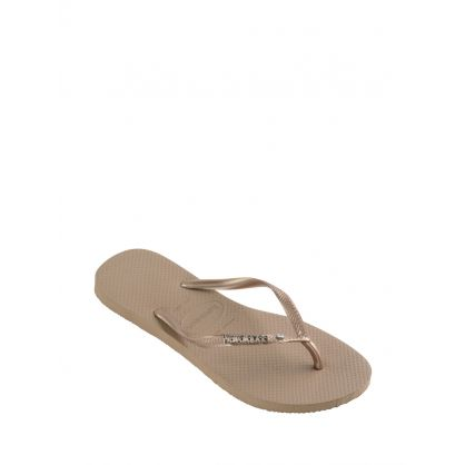 Rose Gold Slim Fit Crystal Flip Flops