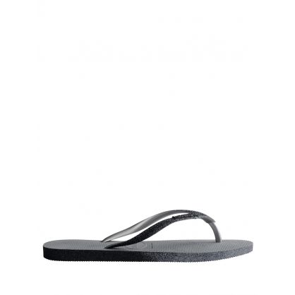 Grey Slim Fit Sparkle Flip Flops