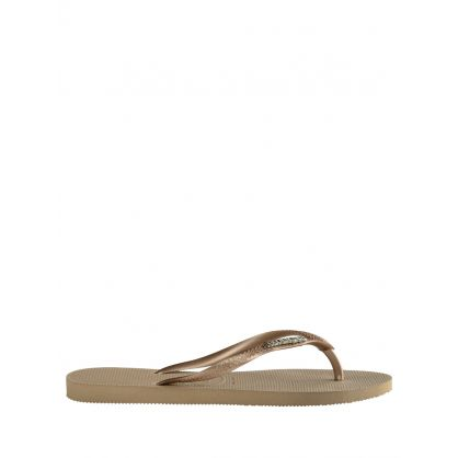 Gold Sand Slim Fit Metallic Logo Flip-Flops