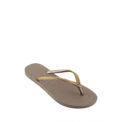 Gold Slim Fit Glitter Flip Flops