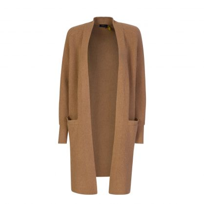 Brown Ribbed Wool-Blend Cardigan