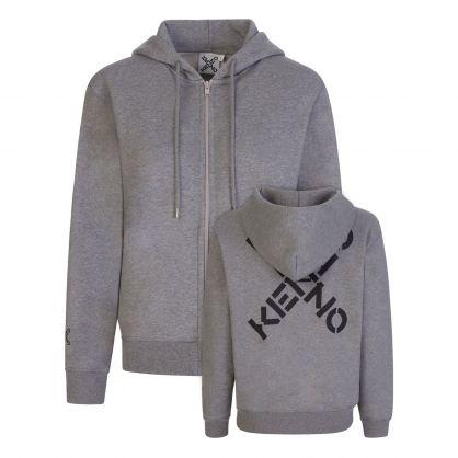 Grey Sport 'Big X' Zip-Through Hoodie