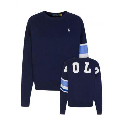 Navy Colour Block Sleeve Sweatshirt
