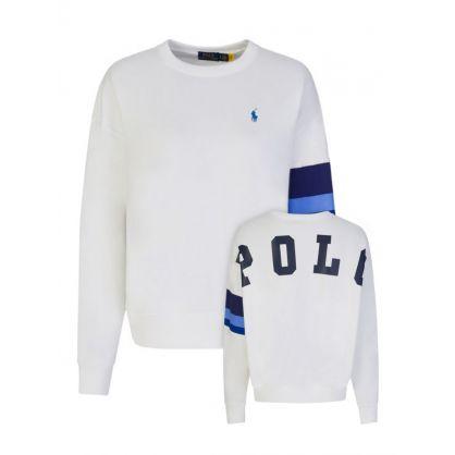 White Colour Block Sleeve Sweatshirt