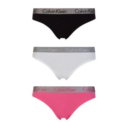Black/White/Pink Radiant Cotton Bikini Briefs 3-Pack