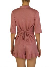Pink Lurex Tie Twist Top