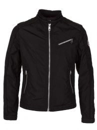 Black Nylon Zip Up Biker Jacket