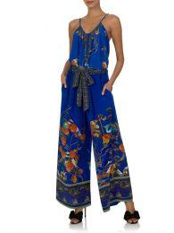 Blue Tree of Life Tie Waist Trousers
