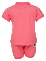 Pink Flower Polo Shirt Set