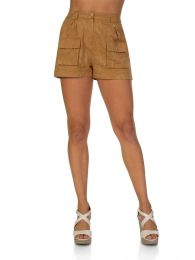 Beige Embroidered Shorts