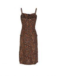 Brown Golden Leopard Evie Midi-Length Dress