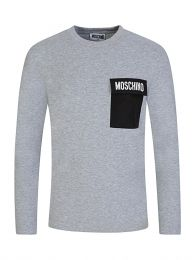 Kids Grey Long Sleeve Pocket Logo T-Shirt