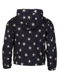 Navy Star Patterned Hooded Jacket